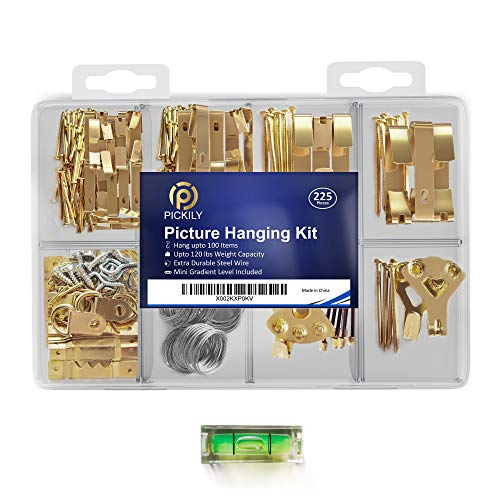 Pickily Premium 225 Piece Picture Hanging Kit, Assorted Picture Hangers Includes Nails, Hanging Wire, Screw Eyes, D Ring, Sawtooth for Wall Mounting, Mini-Gradient Level and Much More.