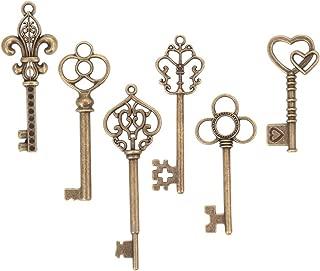 Bingcute 6 Type Of 30Pcs Bronze Vintage large Skeleton Keys -Vintage Keys Charms skeleton key set