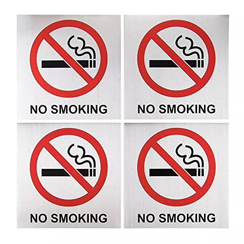 No Smoking Signs - 4-Pack Metal No Smoking Square Aluminum Signs, Self-Adhesive, Ideal for Public Spaces, Coffee Shops, Restaurants, Indoors and Outdoors, 5.5 x 5.5 Inches