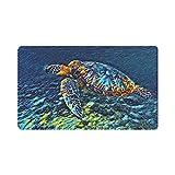 InterestPrint Watercolors Sea Turtle Indoor Outdoor Entrance Rug Floor Mats Shoe Scraper Doormat Non-Slip Home Decor, Rubber Backing 30'(L) x 18'(W)