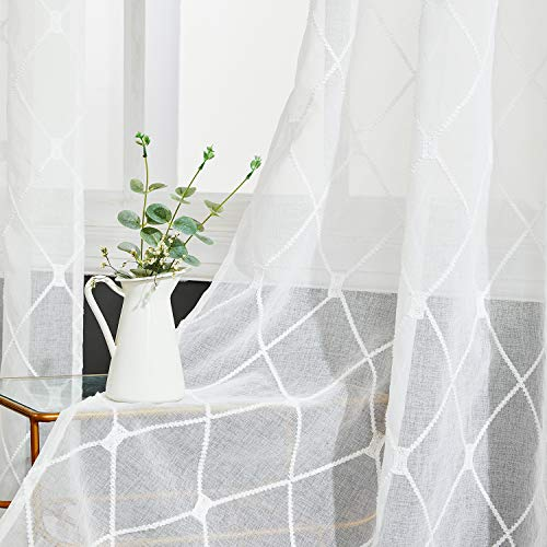 Top Finel White Sheer Curtains 96 Inches Long Embroidered Diamond Grommet Window Curtains for Living Room Bedroom, 2 Panels