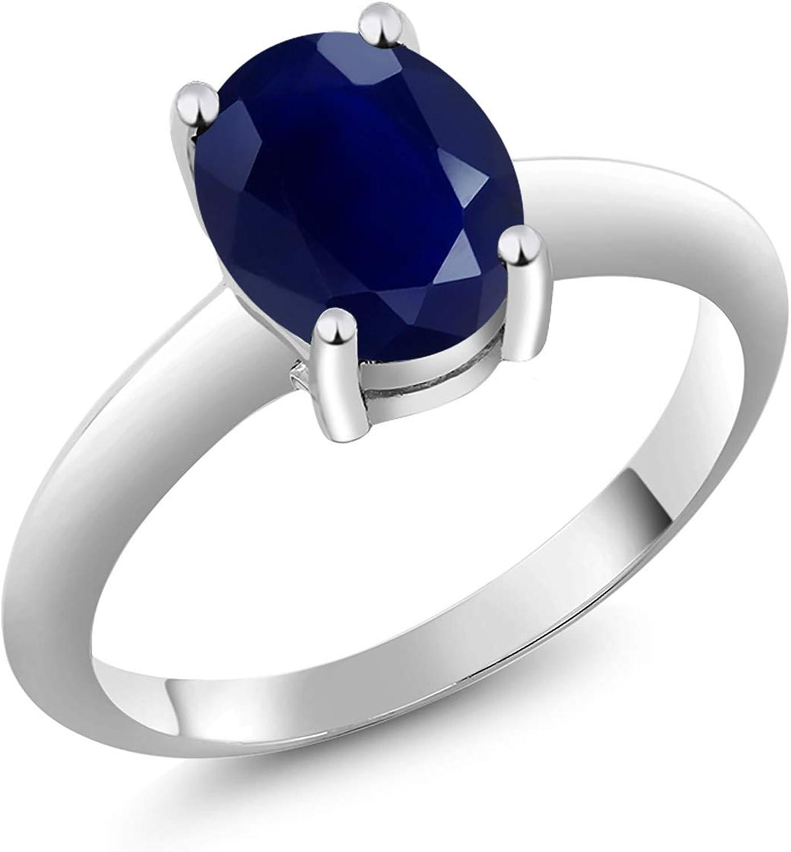Gem Stone King 925 Sterling Austin Mall Ranking TOP18 Blue Sapphire Women's Silver Solitai