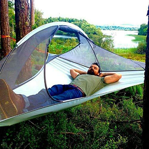 WZZD Tragbare Camping Hängezelt Bett 1 Person Dreieck Suspension Baum Zelt Outdoor Reisen Ultraleicht wasserdichte Hängematte Zelte