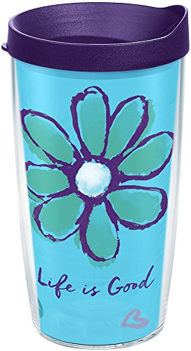 Tervis 1240536 Life Is Good-Daisy Insulated Tumbler with Wrap and Royal Purple Lid, 16 oz, Clear