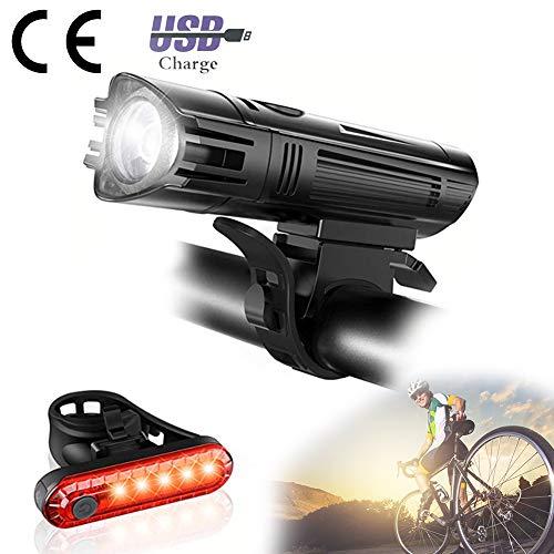 USB-koplamp-achterlichtcombinaties, 300 lumen Oplaadbare waterdichte fietsverlichting Achterlicht Multifunctioneel afneembaar groot gebied Licht Gemakkelijk te passen voor reizen Outdoor Mountain Bike