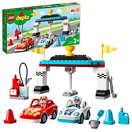 LEGO 10947 DUPLO Rennwagen Spielzeugautos, Kleinkinder Spielzeug, Kinderspielzeug ab 2 Jahre