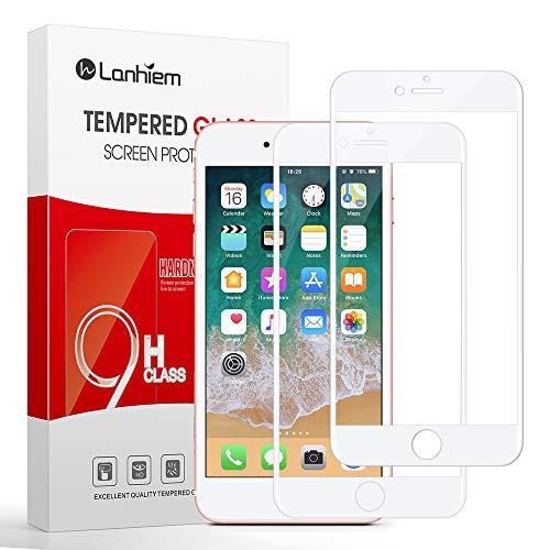 Lanhiem [2 pièces] Verre Trempé iPhone SE 2020/ iPhone 7 / iPhone 8, [Couverture Complète] [Garantie à Vie] Film Protection écran pour iPhone SE/iPhone 7 / iPhone 8 Ultra Résistant Dureté 9H, Blanc