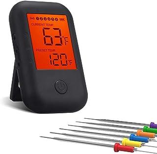 VADIV Cyfrowy bezprzewodowy termometr do grilla, termometr do mięsa, termometr do gotowania, termometr do smażenia z 6 son...