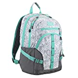 Fuel Dynamo Multipocket Active Backpack with Front Webbing Molle Loops, Ash Gray/Henna Paisley Print/Turquoise Trim