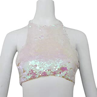 C.C-US Women's Glitter Sequins Crop Top Halter Neck Backless Sexy Vest Tank Top for Rave Club Party