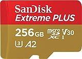 SanDisk Extreme PLUS - Tarjeta de memoria microSDXC de 256GB con adaptador SD, A2, hasta 170MB/s, Class 10, U3 y V30