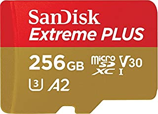 SanDisk Extreme Plus 256GB microSDXC Memory Card + SD Adapter with A2 App Performance + Rescue Pro Deluxe, up to 170MB/s, Class 10, UHS-I, U3, V30 (B07FCMRBTL)   Amazon price tracker / tracking, Amazon price history charts, Amazon price watches, Amazon price drop alerts