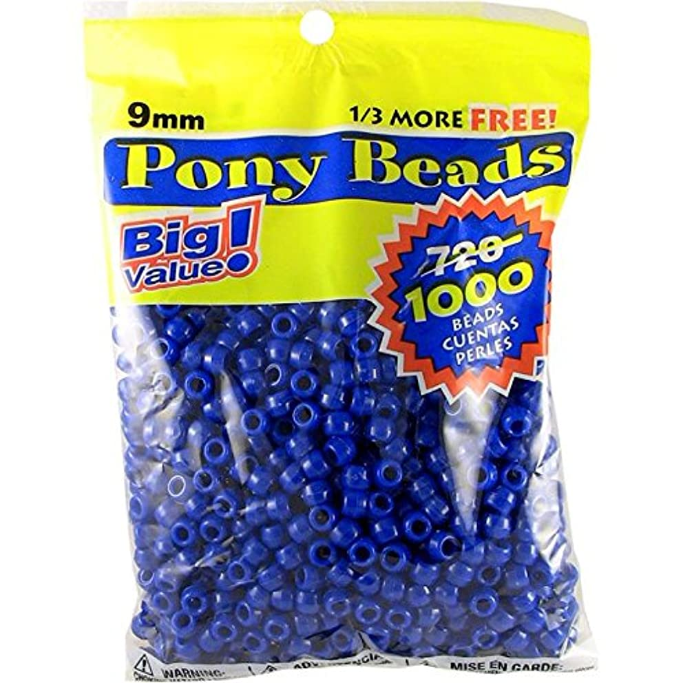 Darice Opaque Blue Pony Beads – Great Craft Projects for All Ages – Bead Jewelry, Ornaments, Key Chains, Hair Beading – Round Plastic Bead With Center Hole, 9mm Diameter, 1,000 Beads Per Bag