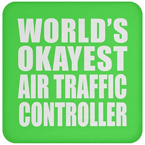 Worlds Okayest Air Traffic Controller - Coaster Kelly Untersetzer Rutschfest Rückseite aus Kork - Geschenk zum Geburtstag Jahrestag Muttertag Vatertag