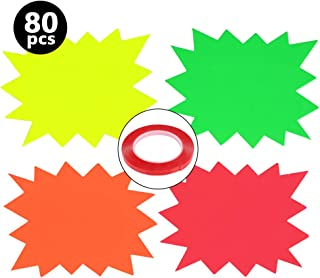 WOWOSS 80 Packs Starburst Signs and Acrylic Double-sided Adhesive Neon Star Retail Sale Tags to Boost Sales