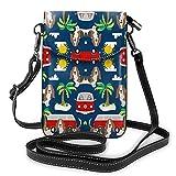 Basset Hound - Bolso de piel sintética para teléfono celular, diseño de palmeras, para perro, playa, autobús y palmeras, color Negro, talla Talla única