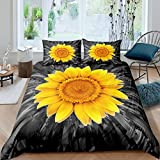 Sonnenblumen-Bettbezug für Kinder Jungen Mädchen, gelbe Blütenblatt-Bettdecke, blühende Blumen Tagesdecke Bezug Dekor Teenager Garten Kinderzimmer Bettwäsche-Set mit Reißverschluss 135x200, grau