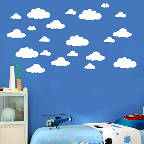 Transer 31, set de adhesivos de vinilo extraíbles con diseño de nubes grandes (de 10,2 a 25,4 cm)para decoración de dormitorio (bricolaje)