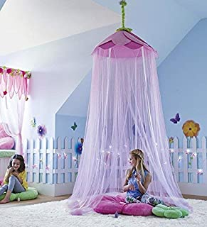 HearthSong Secret Garden Hideaway Canopy Pink Purple Kids Play Tent Child Girl Decor Bower 7'H x 12' Circumference in Pink