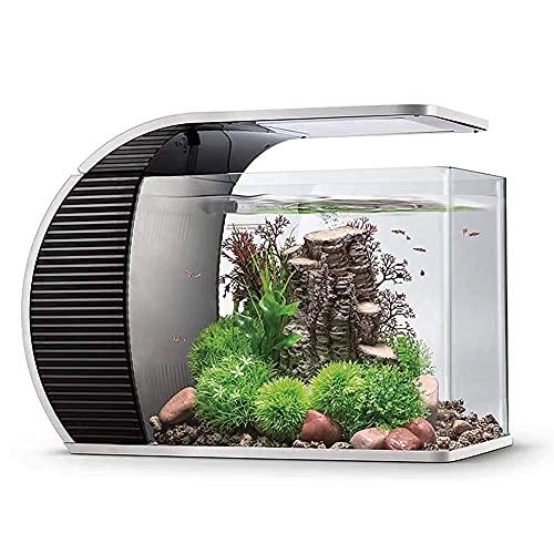 hygger LED Glasaquarium-Set 19 Liter, Panoramaaquarium geschwungene Frontscheibe mit verborgenem Filter, LED-Beleuchtung (3 Farbmodi zur Auswahl)