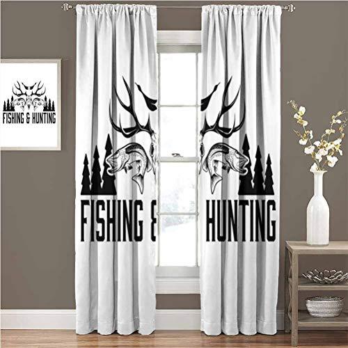 Toopeek - Cortina de aislamiento térmico oscurecida para caza y pesca, diseño de cuernos, cuernos de pino, color blanco y negro