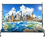 Lyly County Ployester Photography Background 7x5ft The World Famous Buildings with The Earth Studio Photo Backdrop Props(Upgrade Material) LY031
