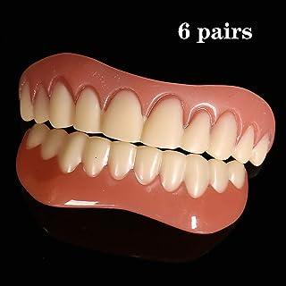 WOkismx Carillas dentales Cosméticos Dientes Snap On Secure 6 Pares Ajuste Superior e Inferior Dientes Chapa Secure Instantánea Sonrisa Cosmética Talla única Se Adapta a Todas Las dentaduras