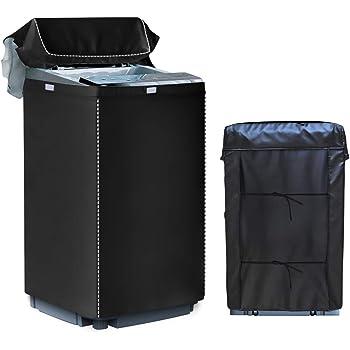 [Mr.You]洗濯機カバー 【デザイン改良】 4面包みデザイン シルバー 防水 防日焼け ブラック【S】4.5-6KGに対応