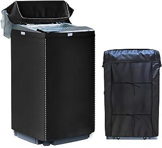 [Mr.You]洗濯機カバー 【デザイン改良】 4面包みデザイン シルバー 防水 防日焼け ブラック【M】6-8KGに対応