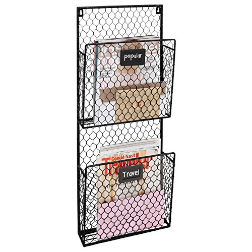 2-Pocket Rustic Wall Mounted Chicken Wire Metal Magazine Rack/Holder with Chalkboard Labels