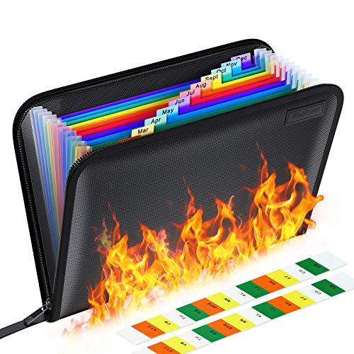 Fireproof File Folder Letter Size/Waterproof Important Papers Organizer