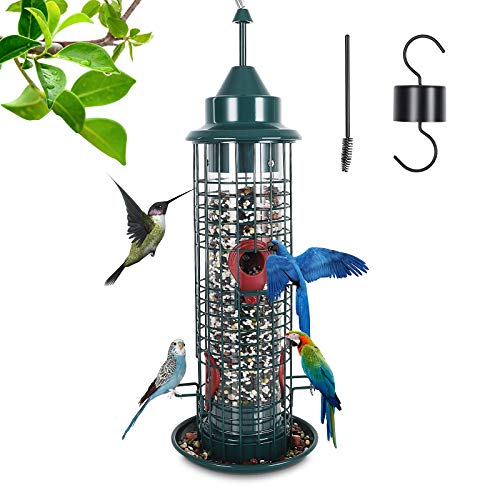 feeder for multiple birds Squirrel-Proof Bird Feeder Hanging Tube Feeder, Bird Feeder for Outside with 4 Feeding Ports All Metal Cage Wild Bird Feeders for Outside Garden Yard Lawn Decoration