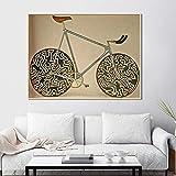 AdoDecor Cuadros de Bicicletas clásicas Pintura de Lienzo Abstracta Estilo Retro Cartel de Arte de Pared Decoración del hogar para la colección Sala de Estar Dormitorio 60x80cm Sin Marco