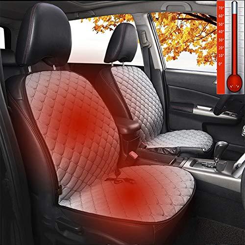Kymzan Plüsch Heizauflagen Sitzheizung fürs Auto, Schnelles Aufwärmen Heizbare Sitzauflage 12V, Heizkissen mit Intelligentem Temperaturregler, 1 Paar,Grey
