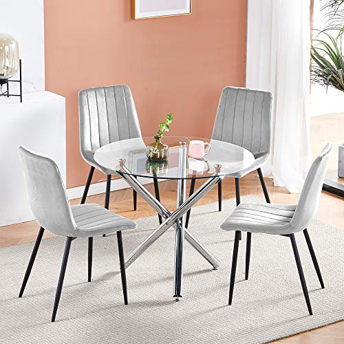 Ansley&HosHo Modern Round Glass Dining Table and 4 Grey Velvet Chairs Set Grey for 4 People Small 5 Pieces Kitchen Dinette Set Clear Tempered Glass Table and Set of 4 Occasional Chairs for Restaurant