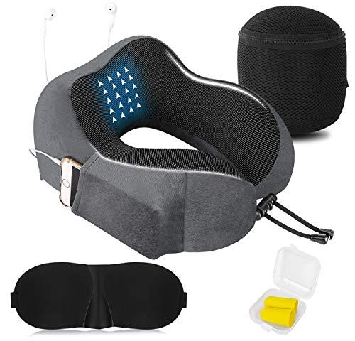 Reisekissen Memory Foam Nackenkissen, U-förmige Reisekissen Travel Kit mit 3D konturierten Augenmasken, Ohrstöpsel, Aufbewahrungstasche- für Reise Büro und Haus Nackenkissen (Grau)