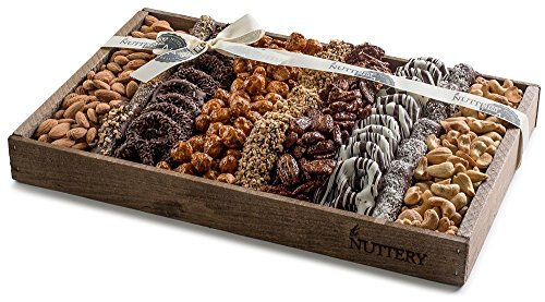 MEGA GIFT TRAY Dark Chocolates and Roasted Salted Sweet and Glazed Nuts Platter Displayed in a Reusable Medium Size Wooden Gift Tray Includes Fine Covered Chocolate Pretzels and Healthy Nuts Snacks.
