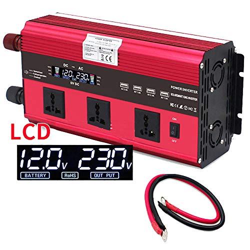 CHHMAELOVE 12V /24V A 220V Onda Sinusoidal Modificada Transformador,Inversor De Corriente 2000W Pico 5000W Convertidor, con 3 Toma Enchufe + 4 Puerto USB,con Pantalla LCD,para Coche, Barco,4000W-12V