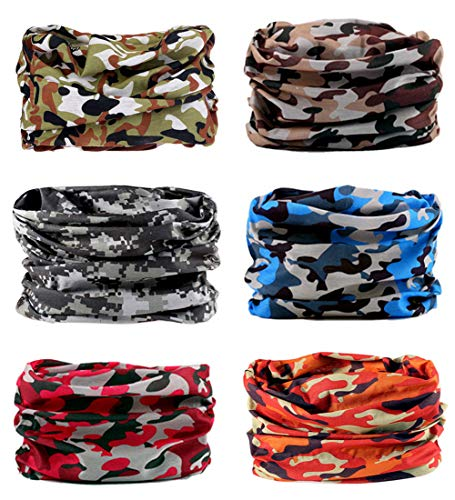Toes Home 6PCS Outdoor Magic Headband Elastic Seamless Bandana Neck Gaiter Scarf UV Resistence Sport Headwear Boho Series