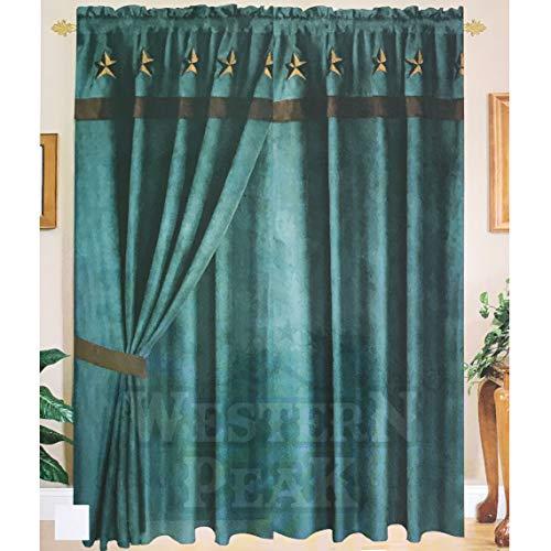 Western Peak Texas Star Embroidery Linen Large Window Curtain 2 Panel (Turquoise)