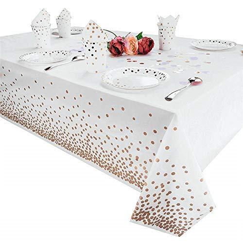Tukcherry Manteles Desechables 137 × 274 cm, Cubierta Plástica de Mesa Rectángula para Bufé, Fiesta, Cena, Boda, Picnic y Más (Oro Rosa) ⭐