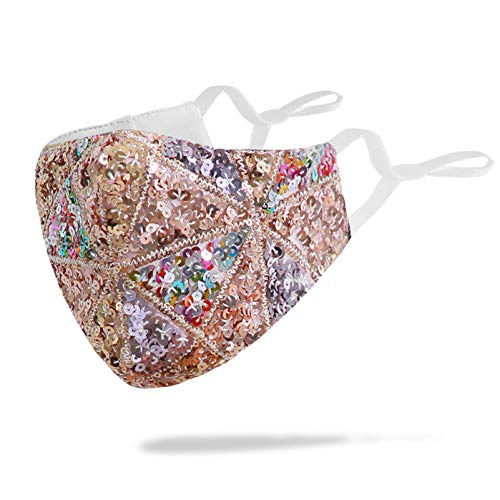 Stylish Sequin Cotton Face Mask with Filter Pocket Adjustable Ear Loops, Handmade Bling Glitter Decorative Design Face Cover Gifts for Women Man, Reusable Washable Balaclava (Colourful &Glod-Bling)