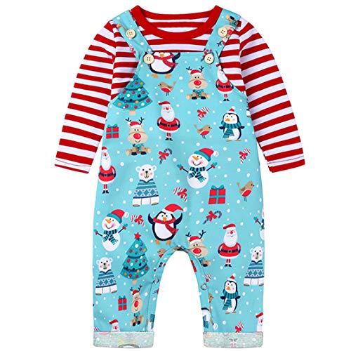 Mama stadt Weihnachtsanzug Baby Weihnachtskleidung Unisex Langarm Top+Weihnachtsmann Overall Trägerhose 2pcs Neugeborenes Weihnachtsset Latzhose/100
