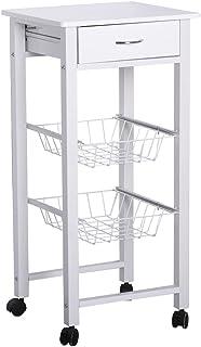 6063d3b60ebf Lola Derek - Carro verdulero Moderno Blanco de Metal para Cocina Basic