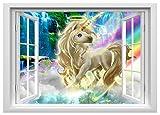 Einhorn Wandtattoo für Schlafzimmer Jungen und Mädchen unicorn fenster Wandtattoos decoracion Größe 57cmx80cm