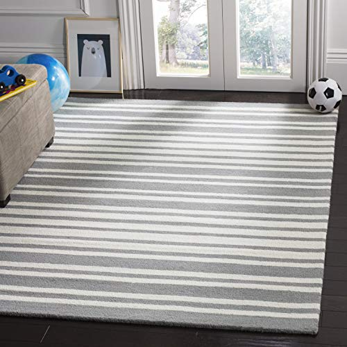 area rug with gray and white stripes