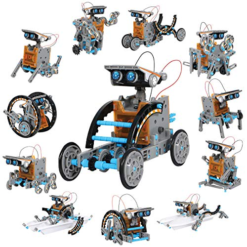 Discovery Kids #Mindblown STEM 12-in-1 Solar Robot Creation 190-Piece Kit with Working Solar Powered Motorized Engine and Gears, Construction Engineering Set