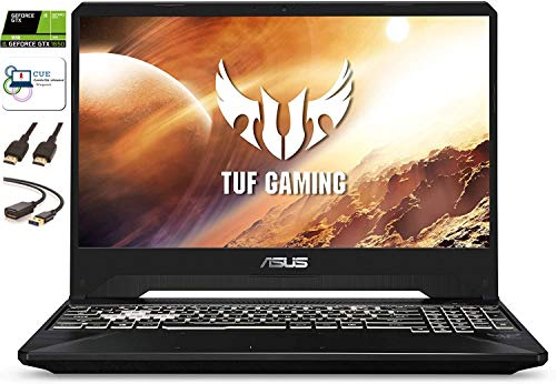 "Asus TUF Gaming Laptop, 15.6"" 144Hz FHD IPS, Intel Hexa-Core i7-9750H, Nvidia GeForce GTX 1650, RGB Backlit Keyboard, Webcam, Windows 10 + CUE Accessories (8GB DDR4, 512GB SSD)"