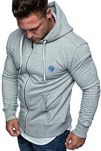 Amaci&Sons Herren Zipper Kapuzenpullover Sweatjacke Pullover Hoodie Sweatshirt 1-04029 Hellgrau S