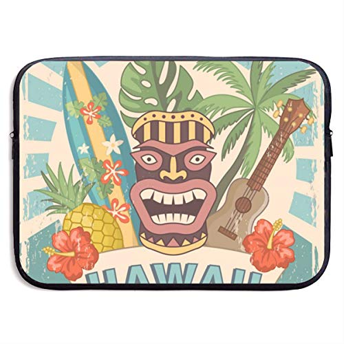 Gao808yuniqi Design Template of Retro Poster Hawaii Laptop Sleeve Shoulder Bag for Women, Protective Carrying Case Compatible with 13-15 Inch MacBook Pro, Air, Notebook,Slim Sleeve